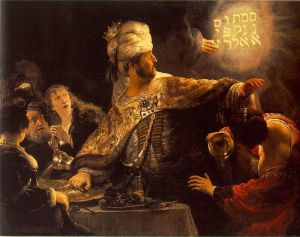 Belshazzar's feast in Babylon.