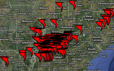 Tornadoes in the US midwest last year.