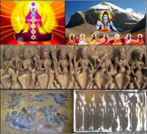 The seven (from top left)... Chakras, Rishis, Matrikas, Archangels and Churches of the East, and Hathors.