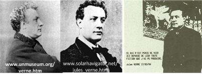Two lifetime pictures of Jules Verne (left) compared to a picture of him in his spirit body (right)