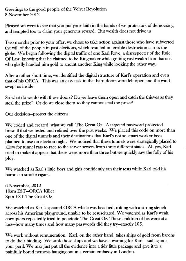 """Anonymous letter to the """"Velvet Revolution"""" group"""