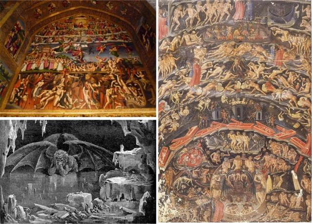 Clockwise from top left: 1) mural in Vank Cathedral (Isfahan, Iran), 2) Dante's Inferno depiction, 3) a Gustave Doré illustration