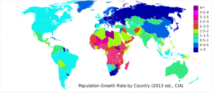 Population growth rate: Blue nations are the most stable and would be well suited to a Basic Income program. Green countries are on the border and could also accommodate Basic Income. The yellows, oranges, reds and purples indicate countries with precarious population growth, which would have to be gotten under control before Basic Income (or any other economic solution) would really help.