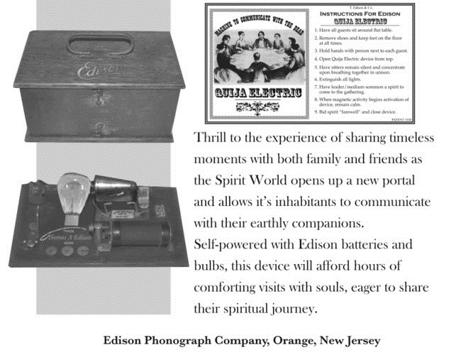 Excerpt from an ad in The Saturday Evening Post magazine around the end of World War I, when Ouija Boards and seances were all the rage in the US.