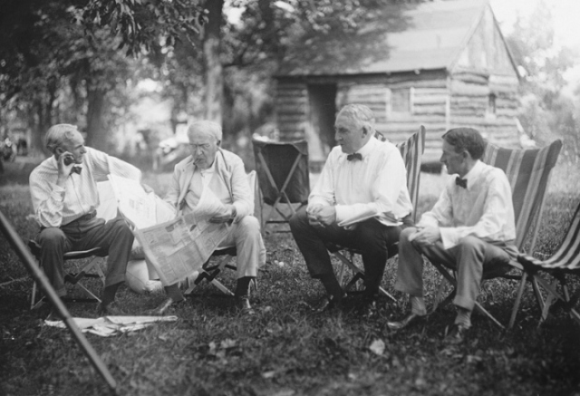 From left, auto manufacturer Henry Ford, inventor Thomas Edison, President Warren G Harding, and tire magnate Harvey Firestone on one of their camping trip in the early 1920s.