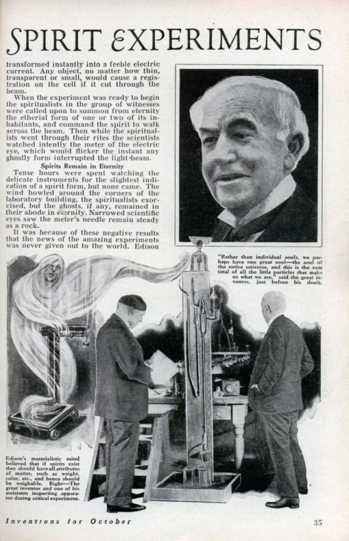 Afterlife experiments conducted by Tom Edison in the 1920s were the subject of an article in 'Modern Mechanix,' October 1933.