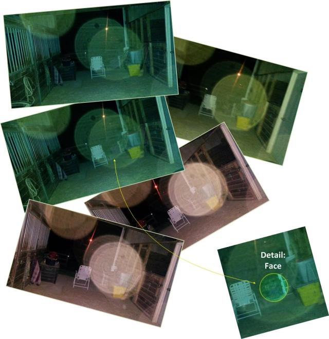 At first glance, these five photos in the collage look about the same, but closer inspection shows the orbs in slightly different positions... suggesting a definite spiritual presence in the barn, not just random light anomalies. Some of the photos even seem to have spirit faces peering out. See the highlighted example, lower right.