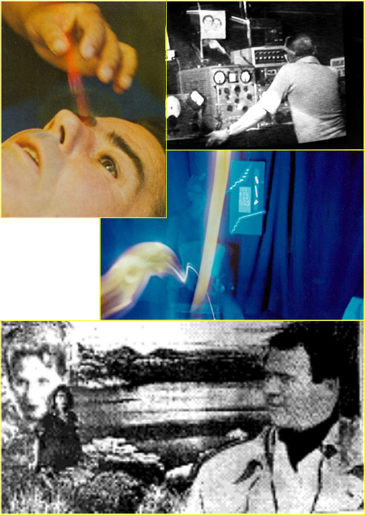 Clockwise, from top left: (1) George Meek captures on film a blast of energy from the healing hands of Filipino healer Josephine Sison; (2) psychically gifted Bill O'Neil is funded by George Meek to develop the Spiricom device, which provides the first-ever extended dialog with spirits through electronic equipment on a fairly reliable basis; (3) George Meek captures an OBE on film while meditating in his lab; and (4) Jeannette Meek, a few years after her death in 1990, sends her husband George a picture (through a computer in Luxembourg) of herself, their daughter Nancy Carol (who died in infancy), and Hollywood producer Hal Roach, the three of whom happen to reside in the same paradise community on the 4th spiritual level.