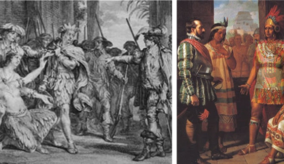 Early artworks depict Inca leader Atahualpa being tried and sentenced in 1533 by Spanish conquistadors, to the horror of attending tribeswomen... who kill themselves following the hanging of their beloved leader. The sketch on the left is probably a more accurate depiction of both the feathered clothing and the fevered passion of the moment. A death sentence seems inconceivable to the Inca people and their leader, who've been generous, accepting, and friendly toward the visiting Europeans. Unfortunately, the Spaniards at the time are still emerging from centuries of brutal injustice throughout Europe, starting with the Medieval Inquisition around 1200, and following up with witch trials of the late 1400s, and the Spanish Inquisition that is still raging well into the 1500s.