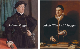 "Johann (Hans) Fugger (circa 1380) was first in a succession of wealthy German merchants and bankers. Jakob Fugger (1459-1525), grandson of Hans, was the most successful and most famous member of the dynasty. Caspar Lindfeldt (an earlier incarnation of Albert Fischbach) was probably a contemporary of Jakob Fugger. By then, the word ""fugger"" had become synonymous with ""banker."""