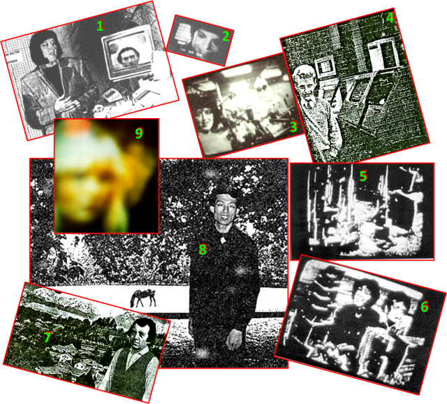 "These are some of the images that Maggy received, via computer and television, from Timestream Spirit Group in the years leading up to Albert's transition... giving a hint of what he would find when his afterlife adventure began. Nearly all of the pictures arrived in black-and-white, with the exception of #9, the picture of the higher being Nsitden that came through Maggy's color TV 1997 Feb 26. Timestream apparently was just beginning to master the ability to transduce the vast range of Third Level colors down to Earth's limited color spectrum, by the time INIT fell apart and most of the contacts ended around the year 2000. About the pictures: 1) This picture, received by Maggy through her computer 1992 June 12, shows Swejen Salter in her office at Timestream station beside a picture of the late Swedish researcher Friedrich Juergenson (now residing at the Fourth level) that Swejen will deliver to the TV of researcher Adolf Homes in Germany (read more about that complicated cross-contact here... and here on p5...); 2) The late German researcher Hanna Buschbeck in her young spirit body; 3) Swejen Salter and higher being Technician (in the white cleansuit) in one of the Timestream labs; 4) The late Austrian zoologist Konrad Lorenz in a Timestream computer room, or maybe in the Room of Records; 5) Some multipurpose equipment at Timestream; 6) Swejen Salter and Albert Einstein in a communication lab; 7) 16th-Century Austrian physician Paracelsus posing in the hills above a community near Timestream, 8) 1st-Century Chinese physician Yang-Fudse posing in a meadow and wooded area near Timestream (Read more here...), and 9) The higher being Nsitden, one of The Seven ""Rainbow People"" who facilitated the ITC bridge between Timestream and our INIT group, which included Maggy Fischbach."