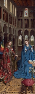 The Annunciation, by Jan van Eyck, shows Gabriel with rainbow wings bringing Seven Rays onto Mary, future mother of Jesus